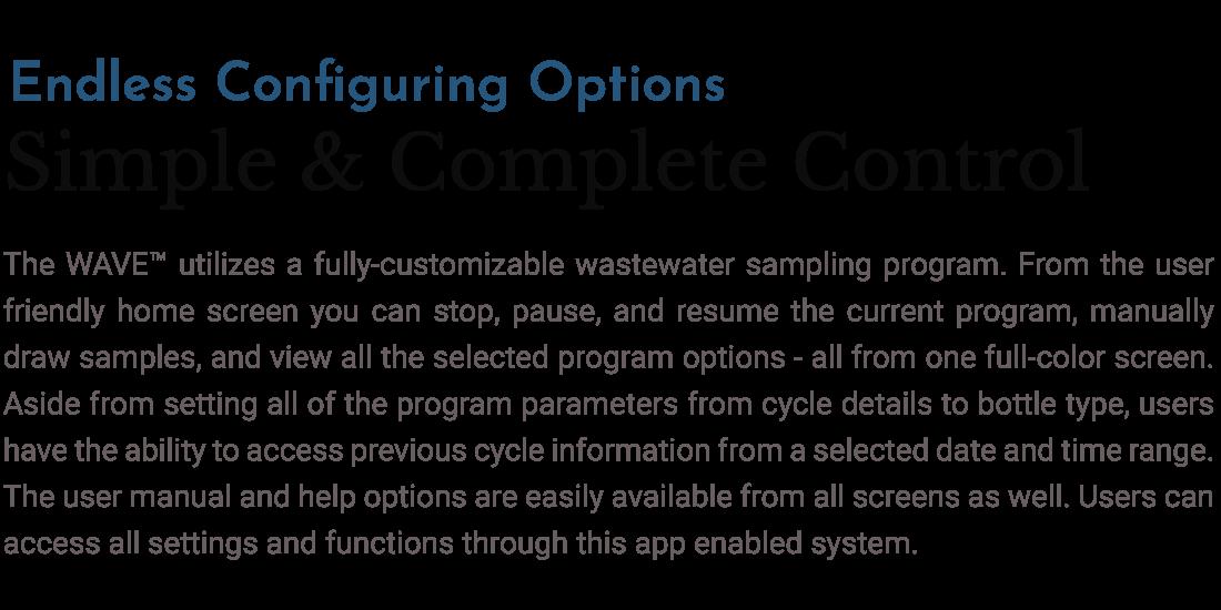 Text describing how to configure water sample
